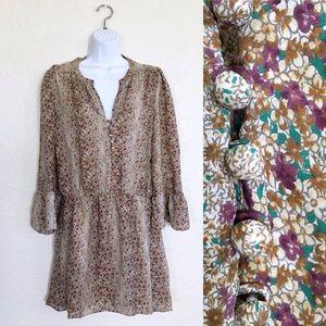 Parker 100% Silk Floral Long Sleeve Dress